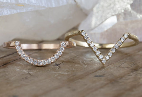Pavé Diamond Arc / Peak Stacking Ring