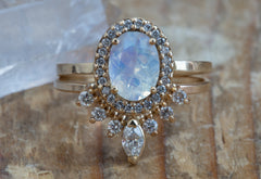 Natural Oval-cut Moonstone Ring with Pavé Diamond Halo
