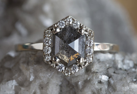 Natural Rose Cut Black Hexagon Diamond Ring with Pavé Halo