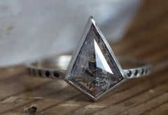 One of a Kind Geometric Salt + Pepper Diamond Ring with Black Pavé Band