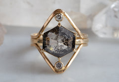 One of a Kind Large Black Diamond Hexagon Solitaire Ring