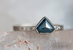 One of a Kind Geometric Blue Diamond Ring