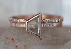 One of a Kind Clear Geometric Diamond Ring with Pavé