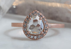 Natural White Pear Rose Cut Diamond Engagement Ring with Pavé Halo