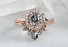 Round-Cut Salt + Pepper Diamond Engagement Ring with Hexagon Pavé Halo