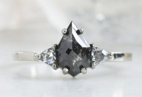 Three Stone Geometric Black + White Diamond Engagement Ring