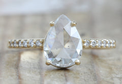 White Rose Cut Salt + Pepper Diamond Engagement Ring with Pavé Band