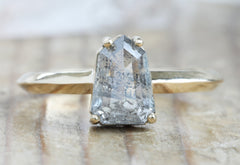 One Of A Kind Geometric Salt + Pepper Diamond Engagement Ring with Knife Edge Band