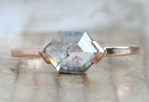 One Of A Kind Salt + Pepper Hexagon Diamond  Engagement Ring