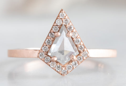 One of a Kind White Geometric Diamond Ring with Pavé Halo