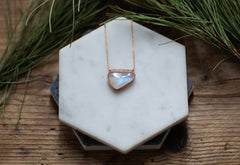 Rose Cut Rainbow Moonstone + Diamond Talisman Necklace