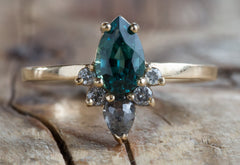 One of a Kind Teal Tourmaline + Diamond Sunburst Engagement Ring