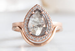 One of a Kind Grey Rose-Cut Diamond Engagement Ring with Pavé Halo