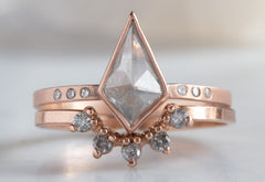 One of a Kind Silver-Grey Geometric Diamond Engagement Ring