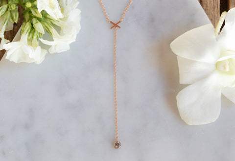 'XO' Diamond Lariat Necklace