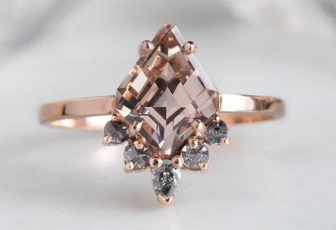 Geometric Pink Morganite Engagement Ring with Grey Diamond Sunburst