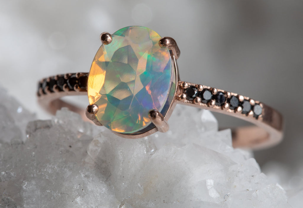 Australian Opal + Grey Diamond Sunburst Engagement Ring