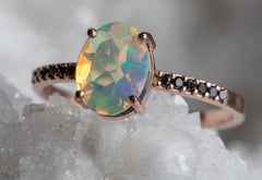 Australian Opal Engagement Ring with Black Diamond Pavé Band