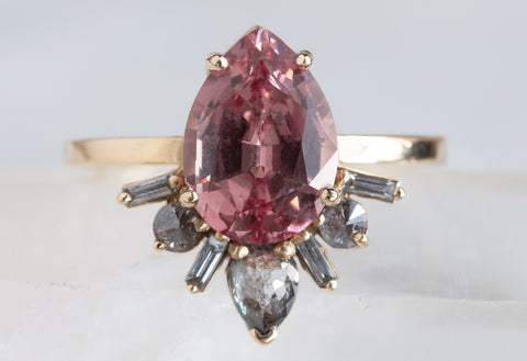 Malaya Garnet + Baguette Diamond Sunburst Engagement Ring