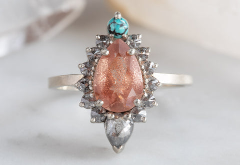 Sunstone Engagement Ring with Turquoise & Diamond Sunburst Halo