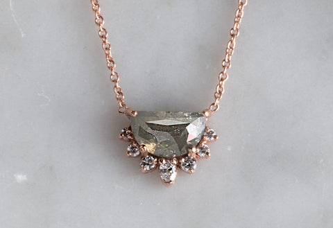 Grey Rose-Cut Half Moon Diamond Sunburst Necklace