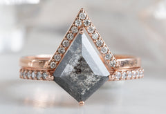 Geometric Salt & Pepper Diamond Engagement Ring with Pavé Band