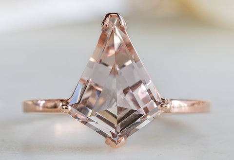 Geometric Morganite Engagement Ring
