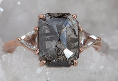 Emerald Cut Black Diamond Engagement Ring with Side Trillions