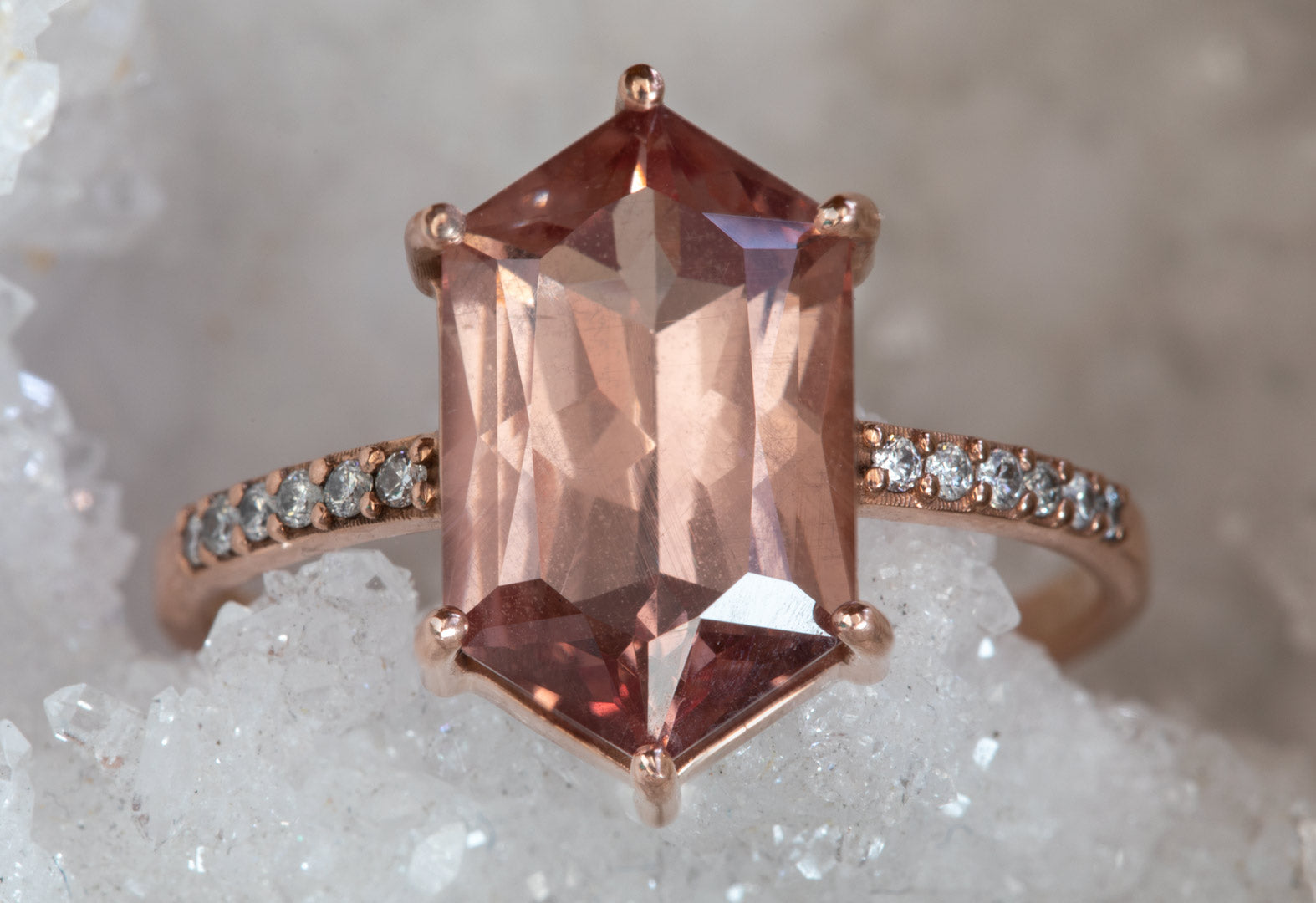 Color-Change Malaya Garnet Hexagon Engagement Ring with Pavé Band