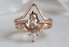 Rose Cut Champagne Diamond Engagement Ring with Pavé Band