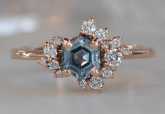 One Of A Kind Step Cut Montana Sapphire + Diamond Cluster Ring