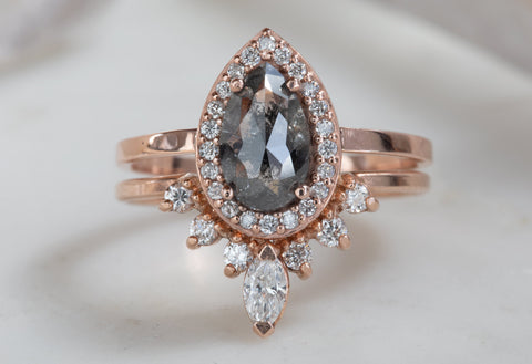 Rose Cut Salt & Pepper Diamond Engagement Ring with Diamond Halo