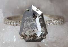 One Of A Kind Sheild-Cut Black Diamond Engagement Ring with Pavé Band