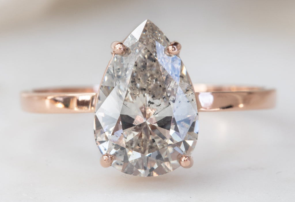Large Pear Cut Salt Pepper Diamond Engagement Ring Alexis Russell