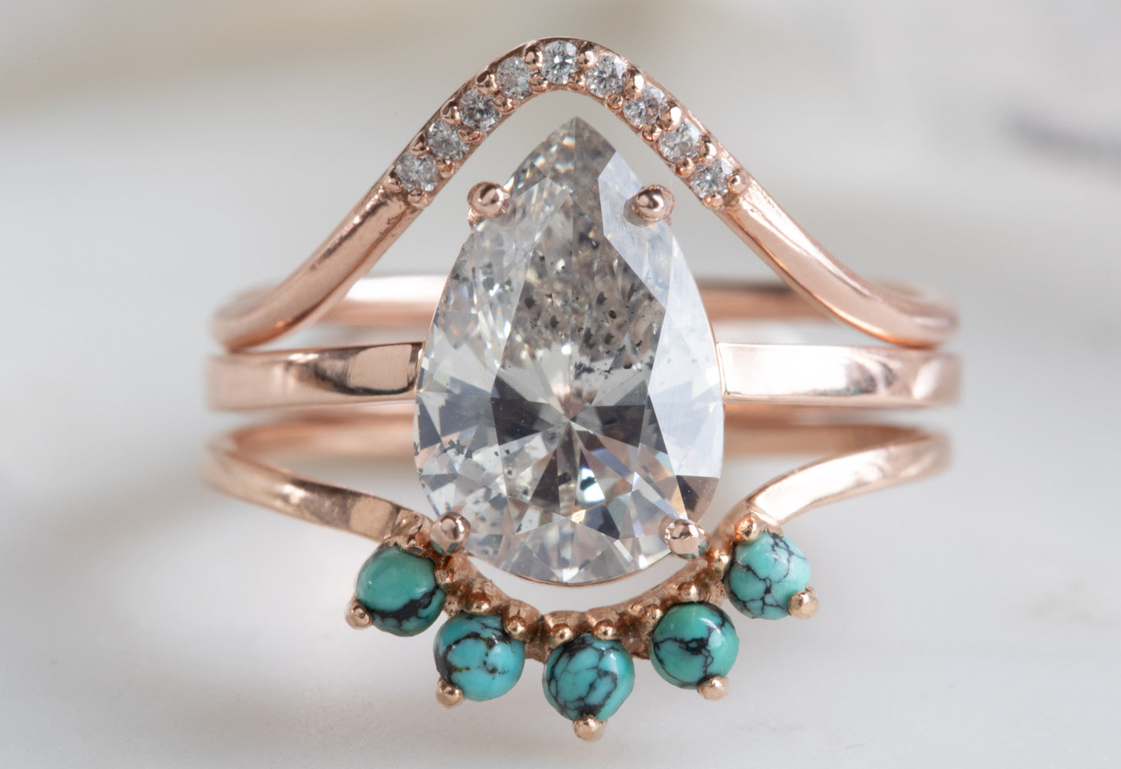 Large Pear-Cut Salt + Pepper Diamond Engagement Ring