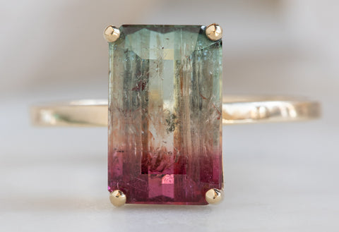 One of a Kind Emerald-Cut Watermelon Tourmaline Ring