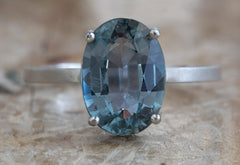 Large Oval Cut Teal Sapphire Engagement Ring