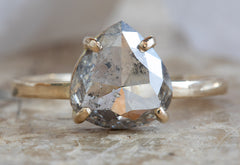 One of a Kind Salt & Pepper Rose Cut Diamond Engagement Ring