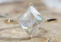 One of a Kind Kite Shaped White Diamond Engagement Ring