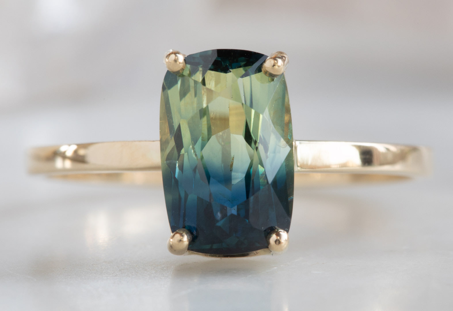 One Of A Kind Blue-Green Bicolor Sapphire Engagement Ring