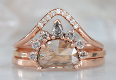 Pink Half-Moon Diamond Engagement Ring with Grey Diamond Sunburst