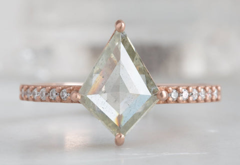 Design Your Own Custom Natural Rose Cut Golden Green Diamond Ring
