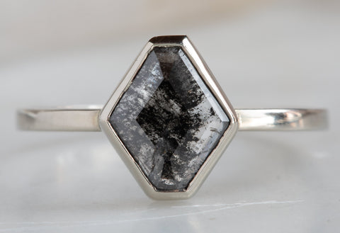 Natural Black Diamond Hexagon Engagement Ring