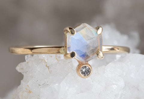 Hexagon Moonstone + Diamond Ring