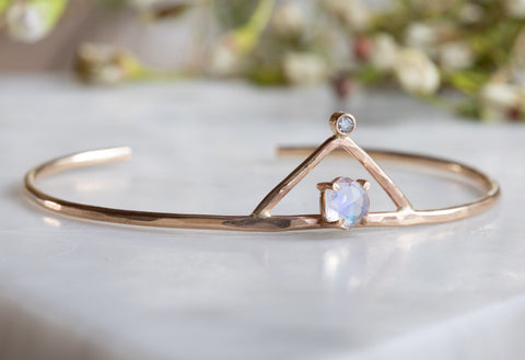 Moonstone + Diamond Crown Bracelet