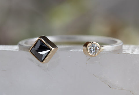 Open Cuff Black + White Diamond Ring