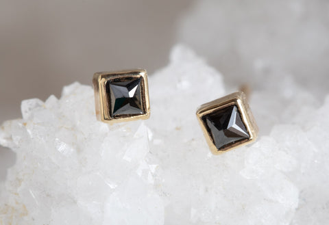 Teensy Black Diamond Spike Stud Earrings