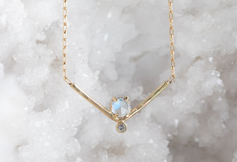 Hexagon Moonstone + Diamond Necklace