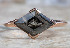 One of a Kind Geometeric Black Diamond Engagement Ring with Knife Edge Band