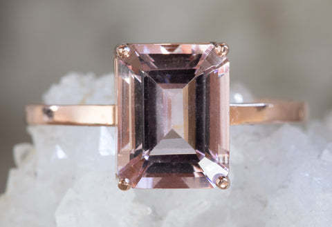 Emerald Cut Morganite Engagement Ring